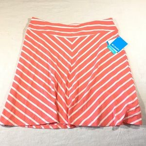 Columbia Sz L Pelham Falls Coral Striped Skirt
